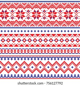 Lapland vector seamless winter pattern, Sami people folk art design, traditional knitting and embroidery Nordic, Scandinavian retro patterns from Norway, Sweden, Finland, and the Murmansk