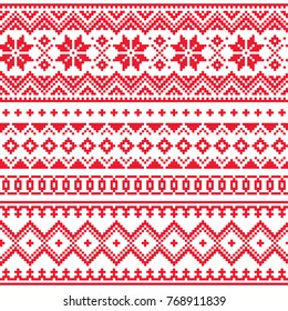 Lapland vector seamless winter pattern, Sami people folk art design, traditional knitting and embroidery Nordic, Scandinavian retro patterns from Norway, Sweden, Finland, and the Murmansk in Russia