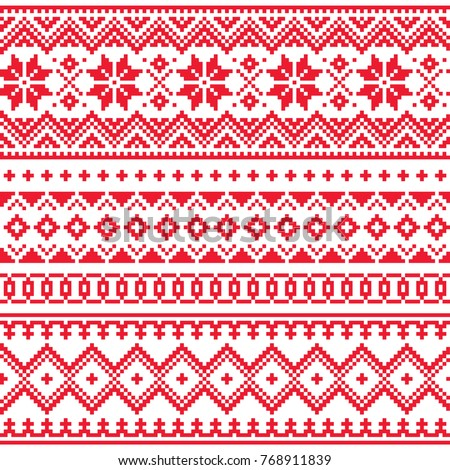 Lapland Vector Seamless Winter Pattern Sami Stock Vector Royalty