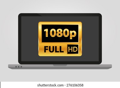 Laptop with 1080p full hd sign