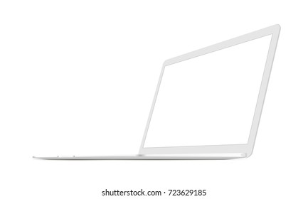 Laptop 3/4 right view - white mockup isolated. Vector illustration