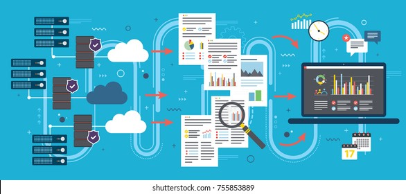 Laptop accessing data from cloud computers. Concepts big data analysis, data mining, cloud computing devices, data network and business intelligence. Flat vector illustration.