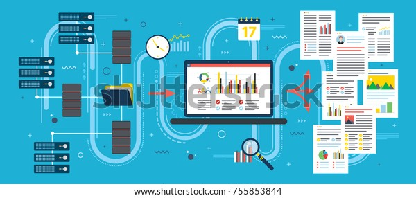 Laptop Accessing Server Files Network Extract Stock Vector