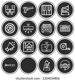 Laptop, air conditioner, mic, measuring tape, blueprint, automatic gun, submarine torpedo icon set suitable for info graphics, websites and print media and interfaces