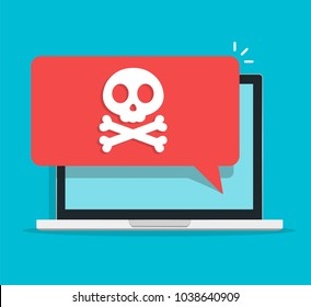 Laptop Alert notification concept on PC having:  malware warning , spam , viruses, internet errors , insecure connections, trojan