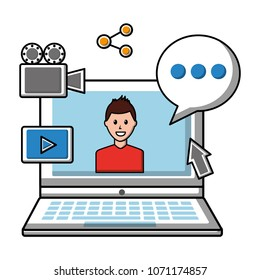 laptop avatar chat bubble social media icons