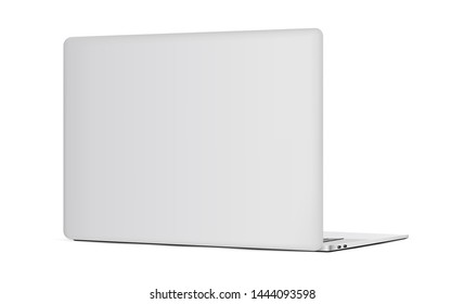 Laptop backside mockup isolated on white background. Vector illustration