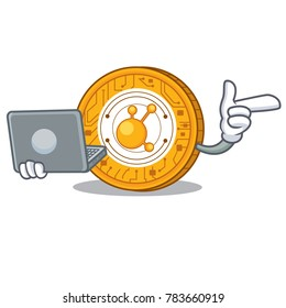 With laptop BitConnect coin character cartoon