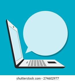 Laptop with blank bubble speech in flat style
