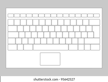 Laptop blank keyboard layout. Computer input element