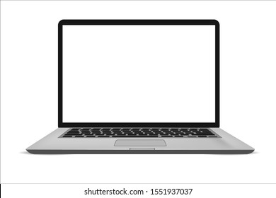 Laptop with blank screen grey color isolated on white background - super high detailed-esp 10 vector