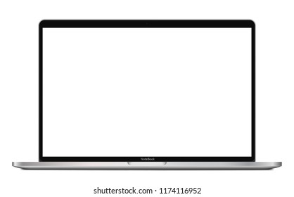 Laptop with blank screen isolated on white background  - high detailed esp 10 vector