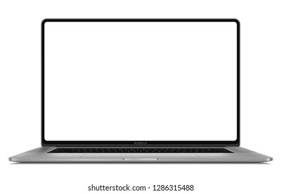 Laptop with blank screen isolated on white modern frame less design - high detailed esp 10 vector