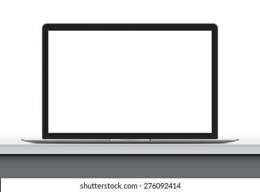 Laptop with blank screen on office desk, work place. illustration vector eps 10