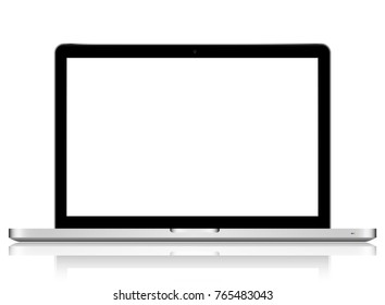 laptop with blank screen to present your application design. On white background