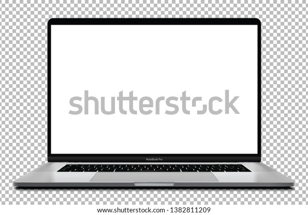 Laptop with blank screen silver color isolated on transparent background - super high detailed photorealistic esp 10 vector
