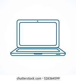 Laptop. Blue line icon