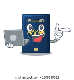 With laptop blue passport in the cartoon form