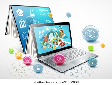 Laptop as a book. The concept of online education. Vector Illustration