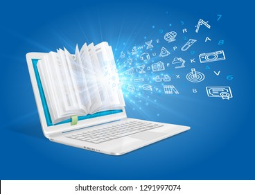 A laptop with a book showing the magic of knowledge. The concept of e-learning.