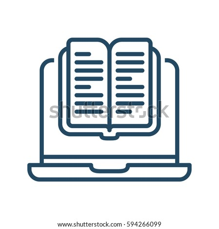 Laptop Book Vector Icon Meaning Digital Stock Vector Royalty Free