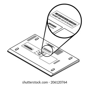 laptop callout showing asset id sticker stock vector (royalty free