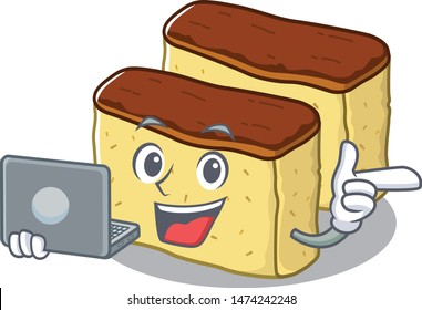 With laptop castella cake isolated in the cartoon
