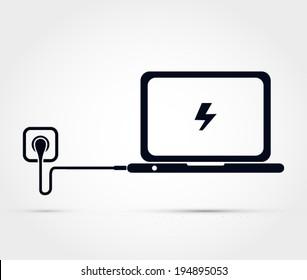 Laptop charging vector illustration