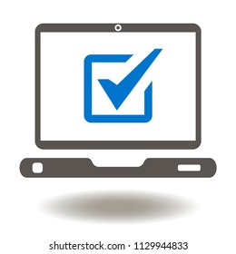 Laptop Check Mark Icon Vector. Mobile Computer Online Voting Illustration. Testing Logo. Digital Compliance Symbol. Examining Sign.