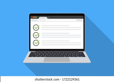 Laptop with checklist in browser page in a flat design with long shadow