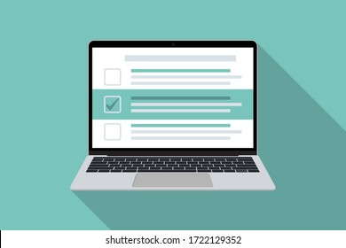 Laptop with checklist in a flat design with long shadow. List with checkboxes