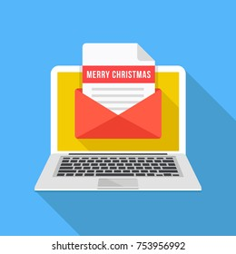 Laptop with Christmas card. Notebook and envelope with letter and Merry Christmas title. Xmas concepts. Modern flat design graphic elements. Long shadow style. Vector illustration