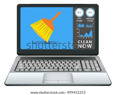 laptop cleaning application stock vector royalty free 499452253