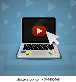 Laptop click by digital arrow view internet online video player. Youtube channel