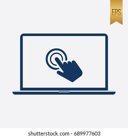 Laptop Click Icon Vector Symbol Flat Isolated
