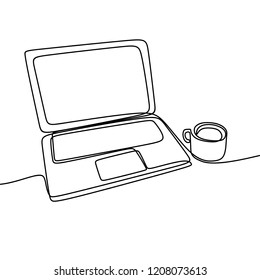 Laptop and coffee vector with one continuous single line art drawing. Minimalist lineart isolated on white background.