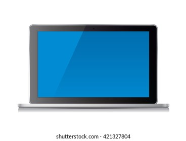 Laptop computer and blue screen. Vector Illustration.