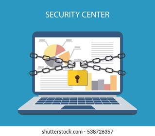 laptop computer are bound with chains and locked with a padlock. concept of security center. flat illustration concept for web banners, web and mobile app, web sites, infographics.