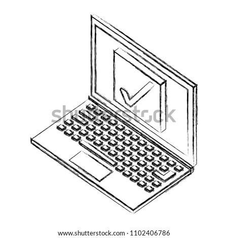 Laptop Computer Button Check Isometric Icon Stock Vector Royalty