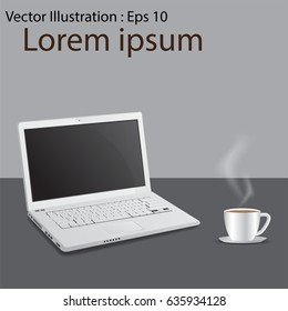 Laptop computer with cup of coffee background, with copy space. vector illustration.