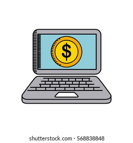 laptop computer with gold coin icon over white background. colorful design. vector illustration