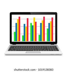 Laptop computer with graph on the screen. Online business analytics concept. Vector illustration.