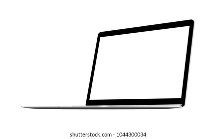 Laptop computer grey mockup with blank screen - 3/4 right perspective view. Vector illustration