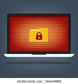 Laptop computer have folder locked key with ransomeware and malware on red binary code desktop background. Vector illustration computer security concept.