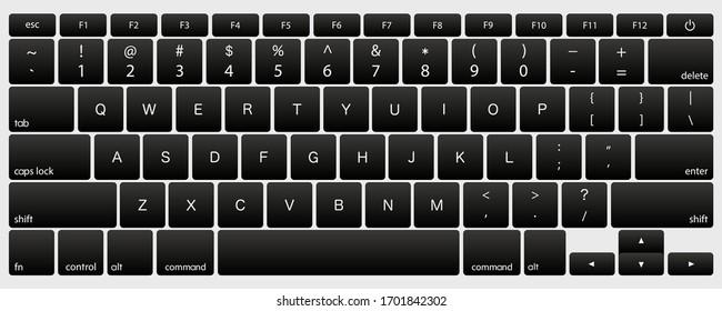laptop computer keyboard dark black key button vector