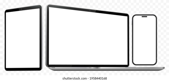 Laptop Computer, Mobile Phone and Tablet PC Mockup. Digital devices screen template vector illustration with transparent background.