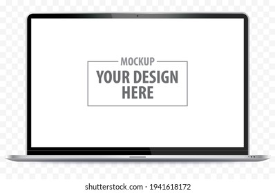 Laptop Computer Mockup. Notebook PC realistic vector illustration with transparent background.