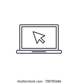 laptop computer, notebook and cursor click thin line icon. Linear vector illustration. Pictogram isolated on white background