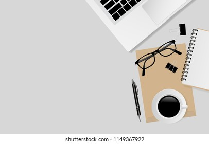 Laptop computer with office supplies on gray color background with copy space, top view. Vector illustration