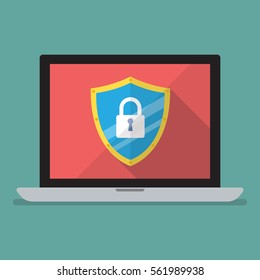 Laptop computer protected by firewall guard. Vector illustration